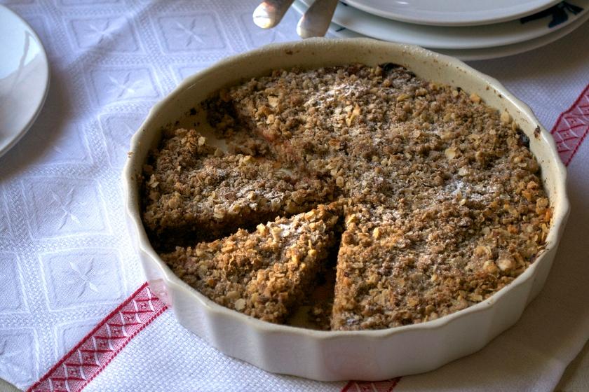 Crumbly Plum & Hazlenut Tart