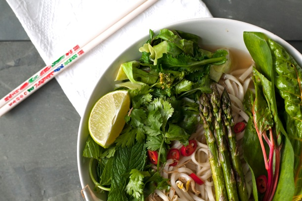 pho with grilled asparagus